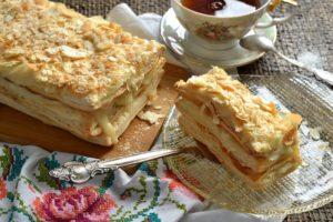 Самый простой рецепт торта Наполеон без яиц и сахара. Вкусно, как в детстве